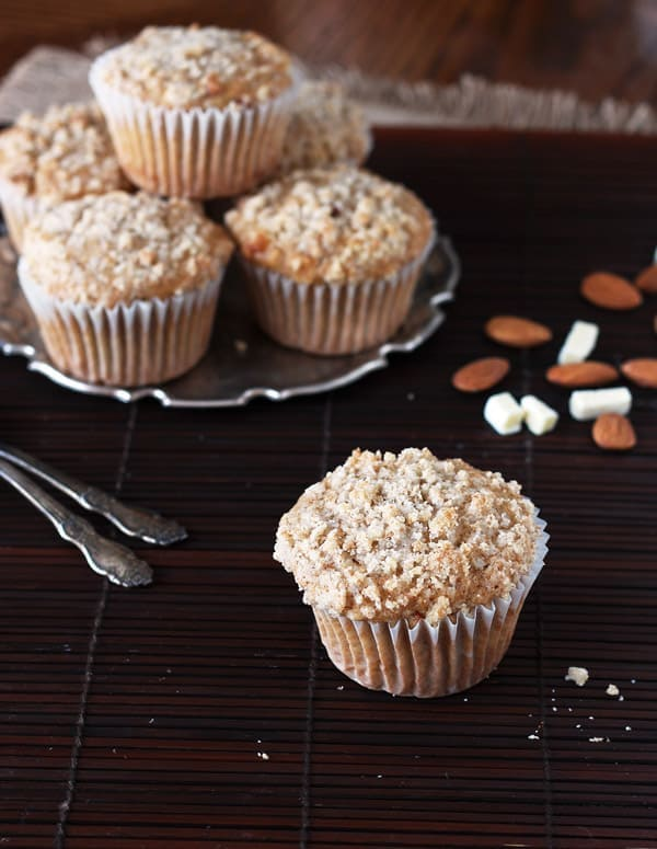 Almond White Chocolate Streusel Muffins