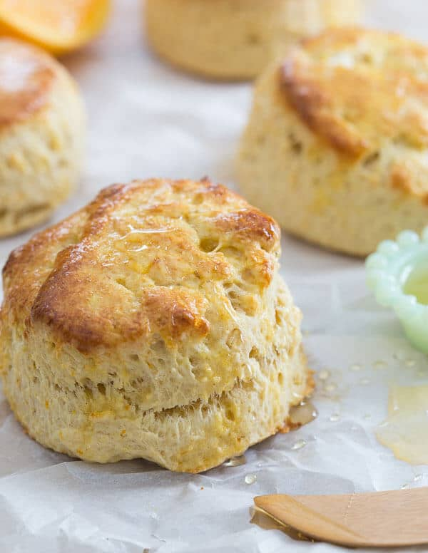 These citrus honey biscuits are filled with the sweet flavor of honey and the bright freshness of orange and meyer lemons. They're a delicious addition to your breakfast plate.