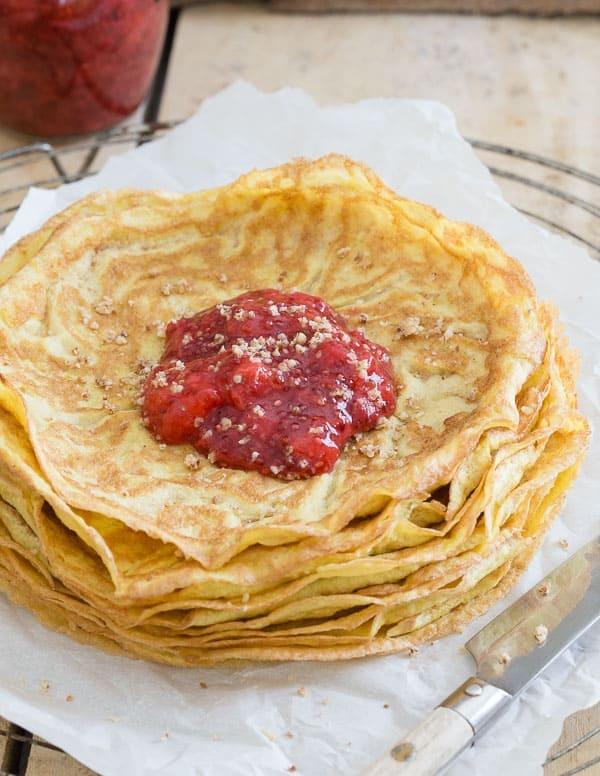Paleo crepes with strawberry chia jam