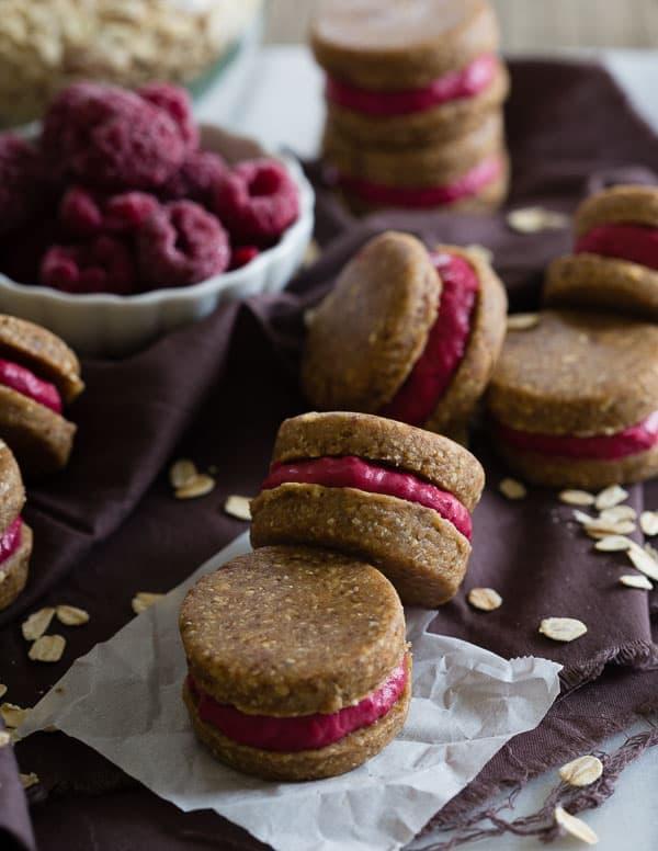 No Bake Oatmeal Raspberry Sandwich Cookies