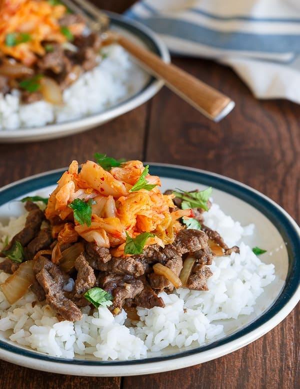 Bulgogi kimchi rice plate