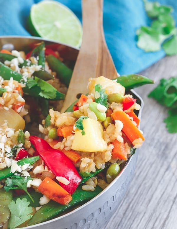 This Thai pineapple fried rice is loaded with Thai flavors, sweet pineapple and lots of Asian style vegetables.
