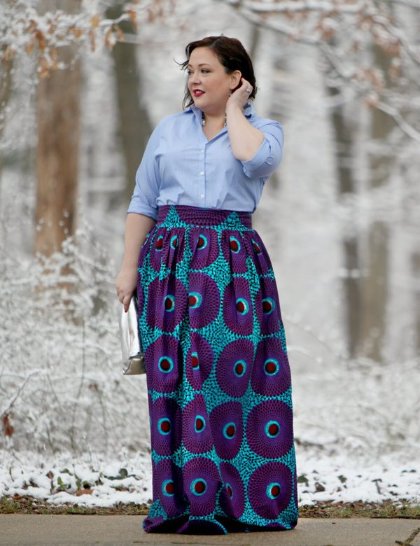 Long print skirt and button down blouse outfit   40plusstyle.com