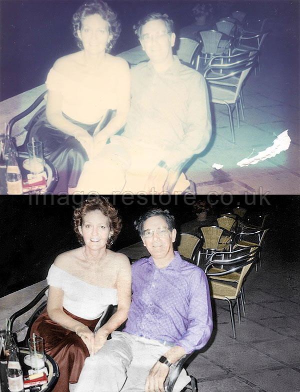 Bleached photo restore and colour