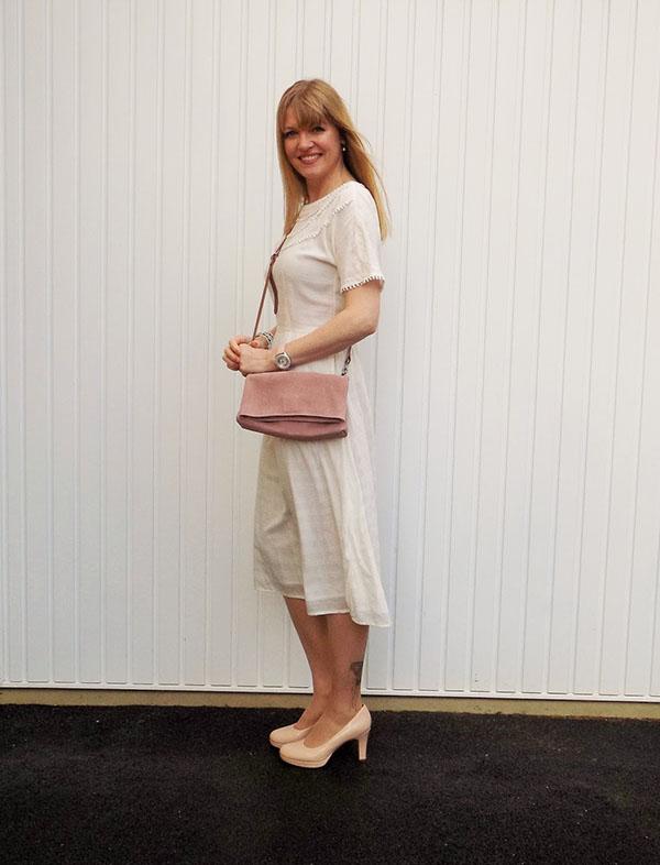 Pom pom midi dress with butterfly tattoo tights | 40plusstyle.com