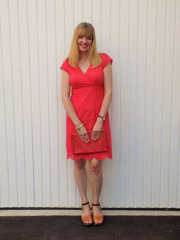 Red broderie angalaise dress | 40plusstyle.com