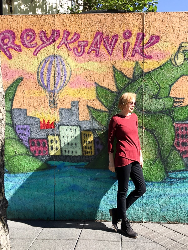 Street art and ideas on what to wear in Reykjavik Iceland | 40plusstyle.com