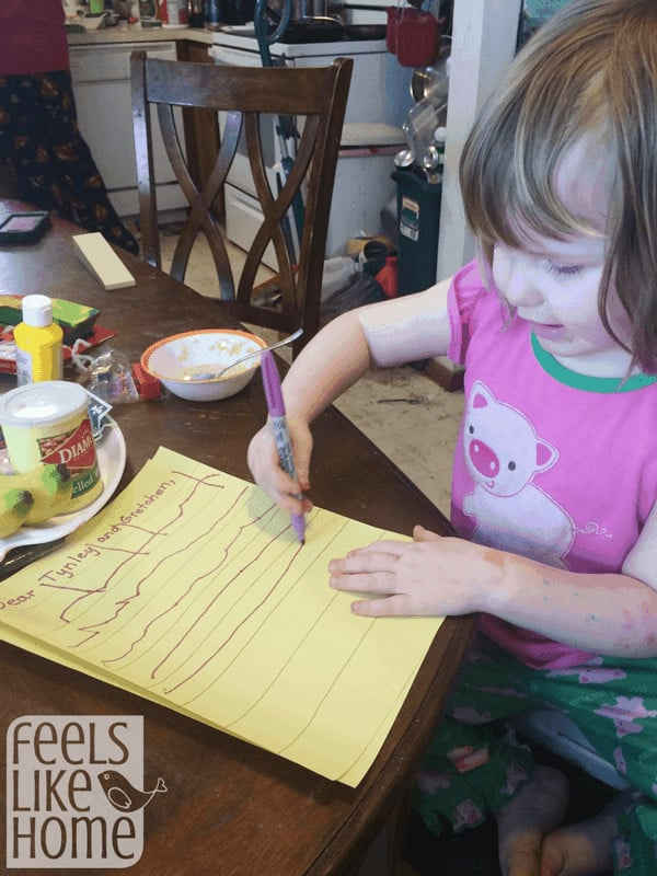 Letter writing activity for preschoolers
