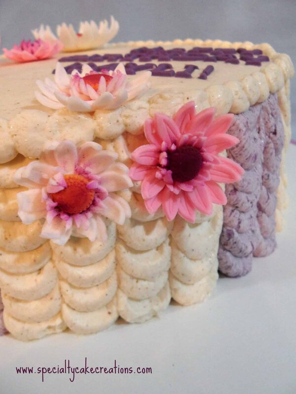 Side of Decorated Ube Cake