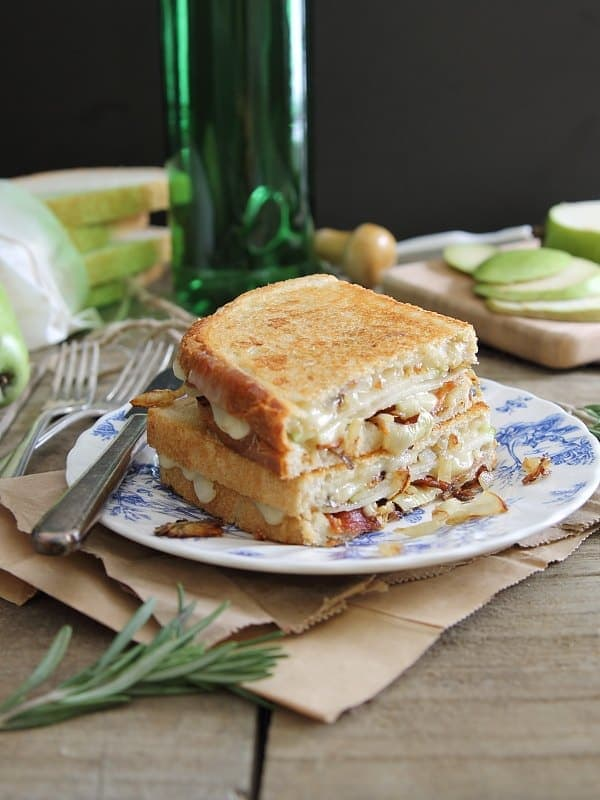 This pear bacon and brie grilled cheese with caramelized onions is sweet, salty and cheesy making it the ultimate grilled cheese.