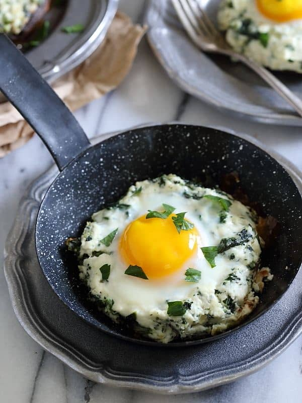 These portobello mushrooms are stuffed with a ricotta spinach mixture and finished with a runny egg that's baked right on top.