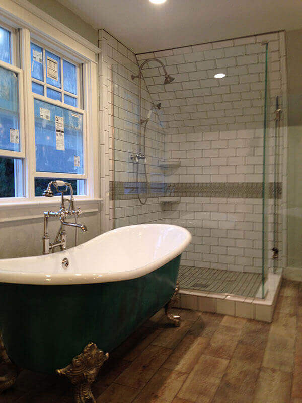 Denver Bathroom Remodel Claw Foot Tub and Custom Glass Shower