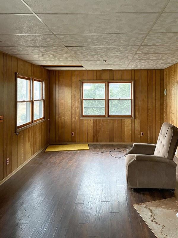 wood paneled cottage living room
