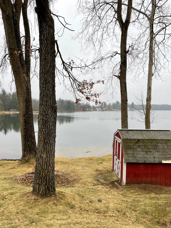 lake view with red shed