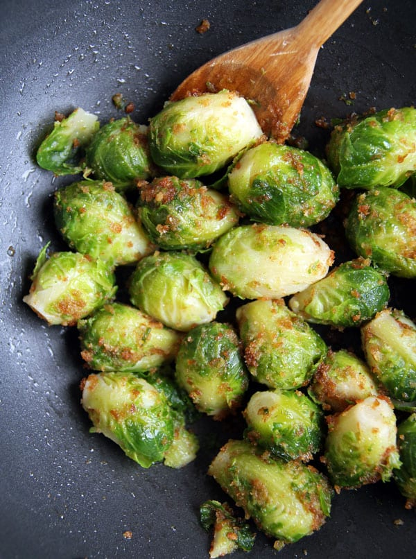 Sauteing Brussels Sprouts