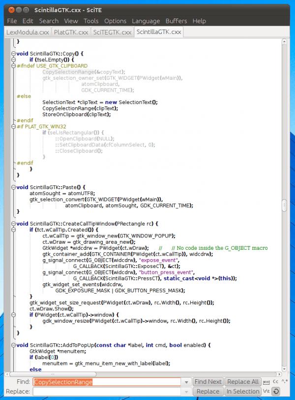 De interface van SciTe is overzichtelijk.