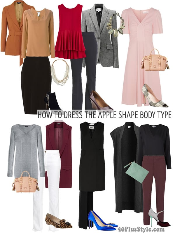 Stylish outfit tips on dressing the apple body type | 40plusstyle.com