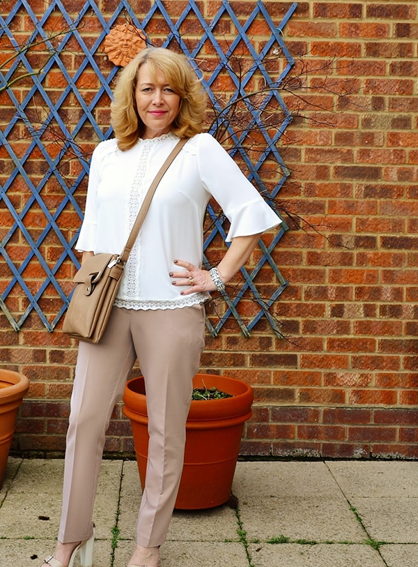 Styling white blouse and nude pants | 40plusstyle.com