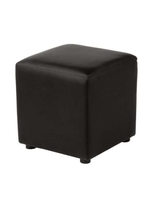 Pic-Event Location Pouf Carré Simili Noir 40cm