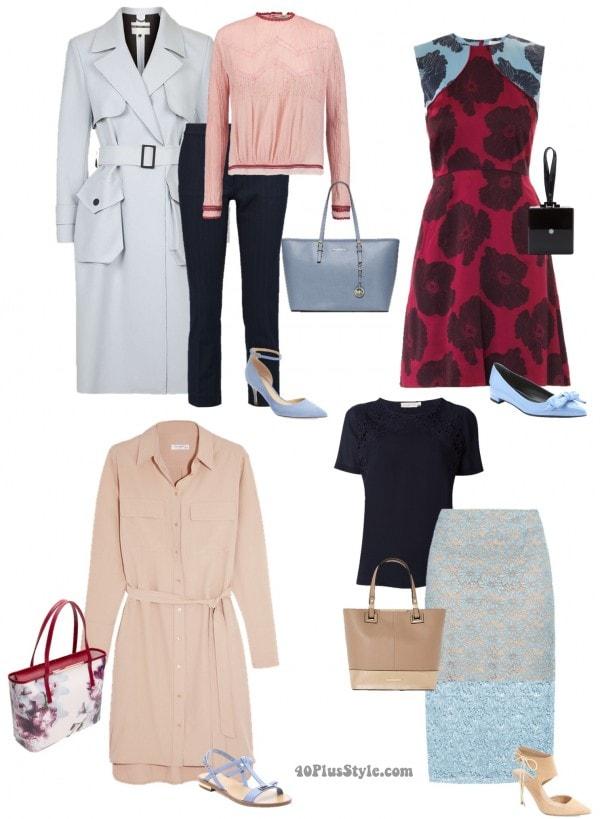 blue looks lace skirt dress coat | 40plusstyle.com
