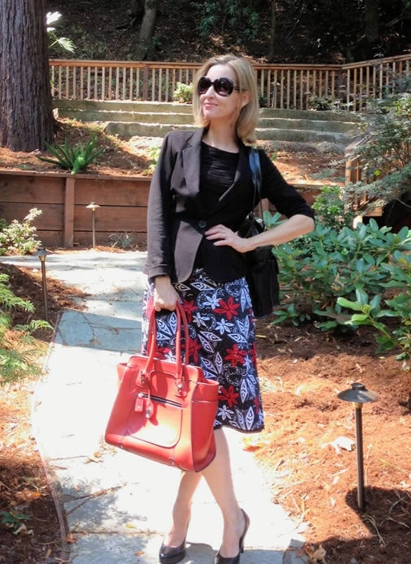 Wearing a skirt with a blazer | 40plusstyle.com