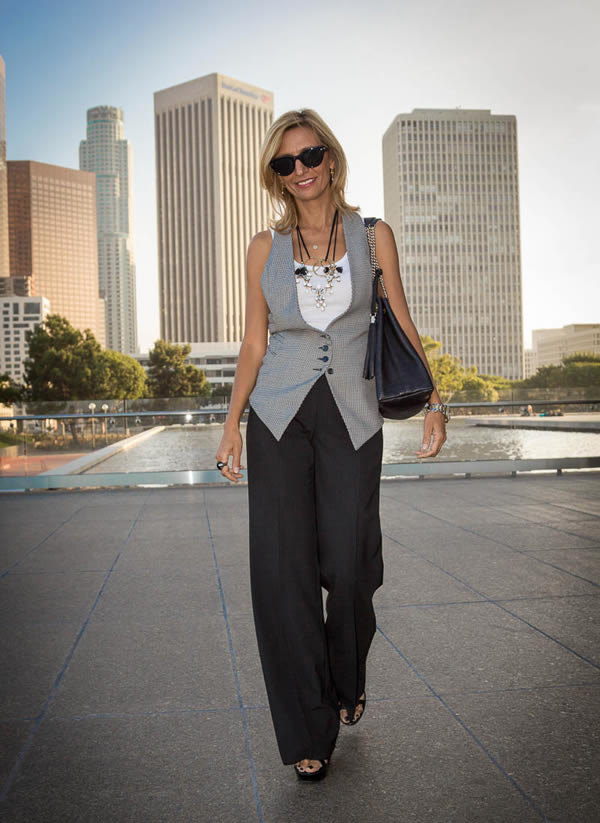 Wearing a vest with wide pants | 40plusstyle.com