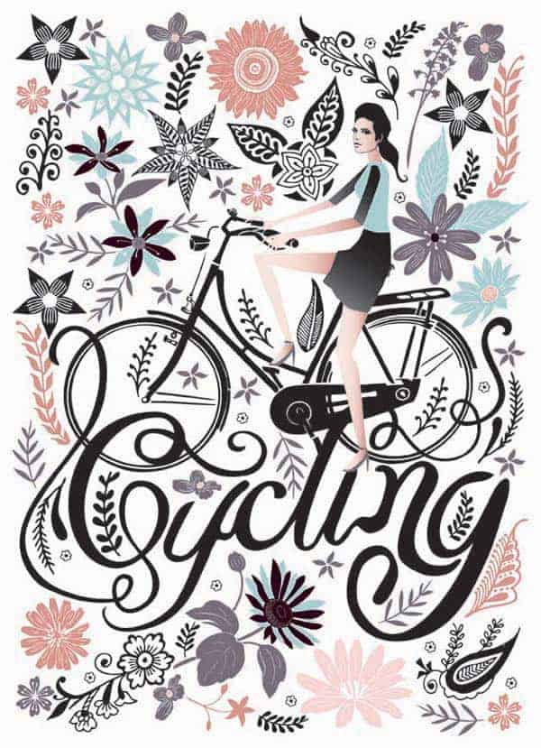 Cycling Lady through Flowers