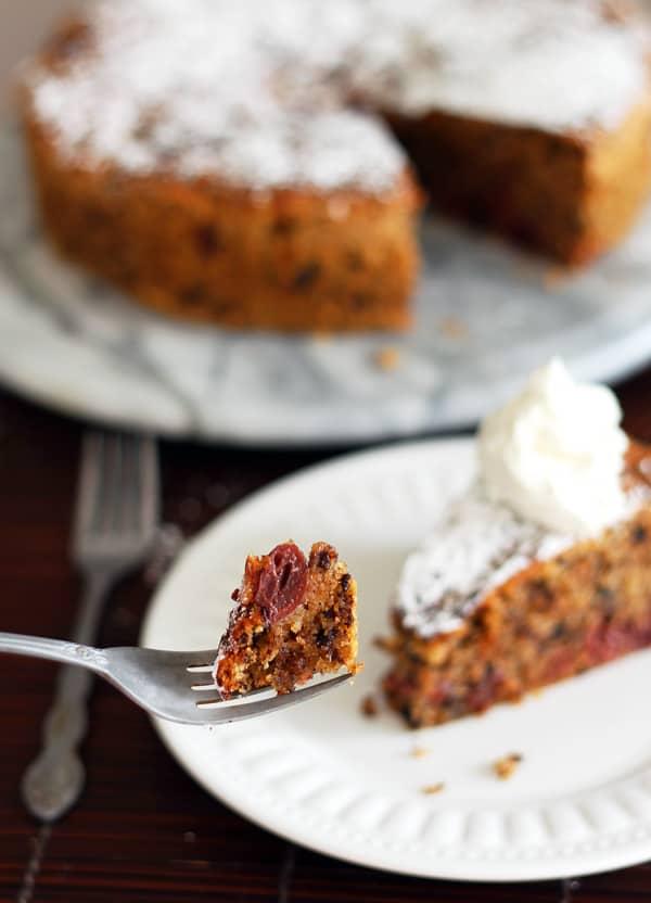Cherry Chocolate Cake on Fork