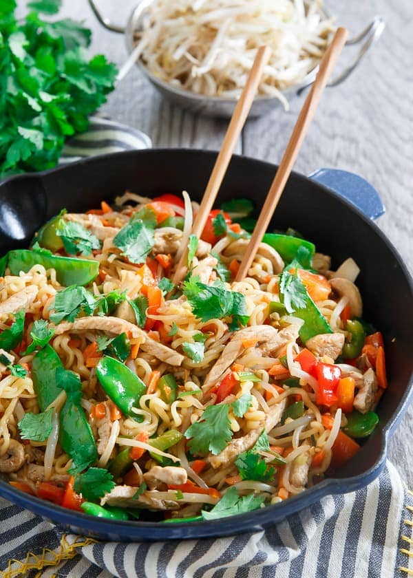 This 20 minute pork ramen stir fry is sweet, spicy and filled with vegetables for an easy, healthy weeknight dinner.