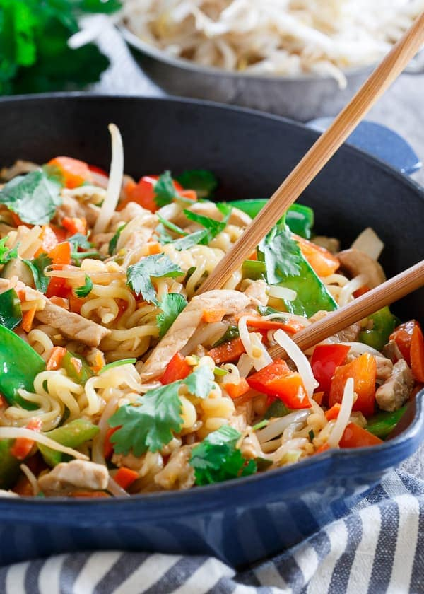 This 20 minute pork ramen stir fry is sweet, spicy and filled with vegetables.