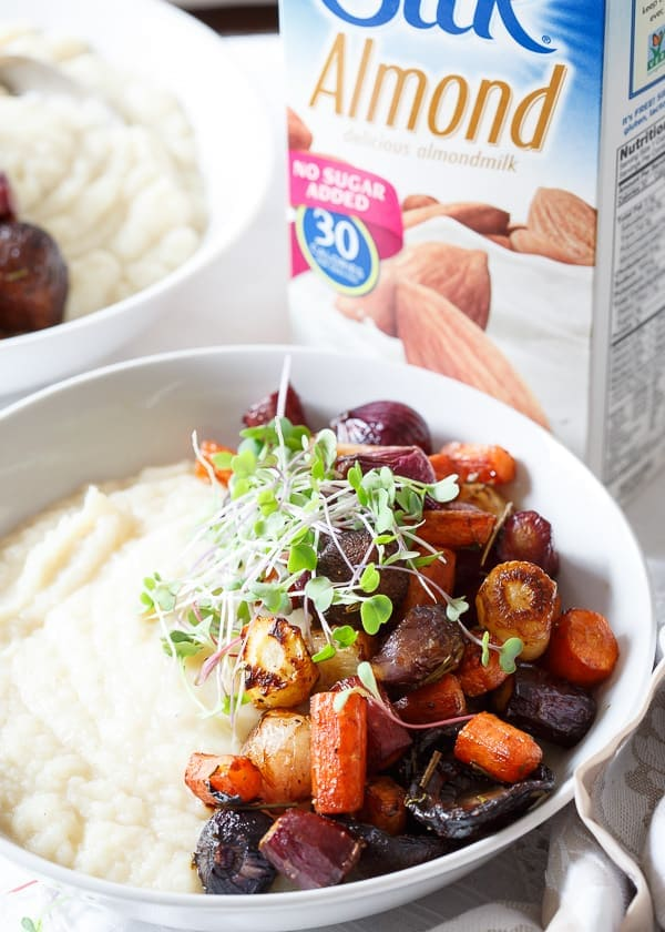 Silk unsweetened almond milk make a creamy celery root puree base for hearty roasted balsamic vegetables