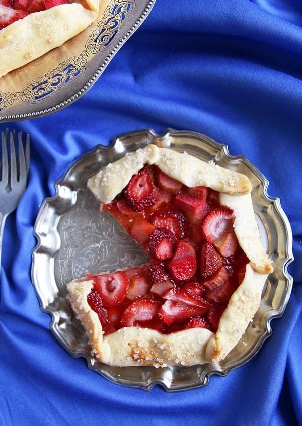 Strawberry Rhubarb Galette on Platter