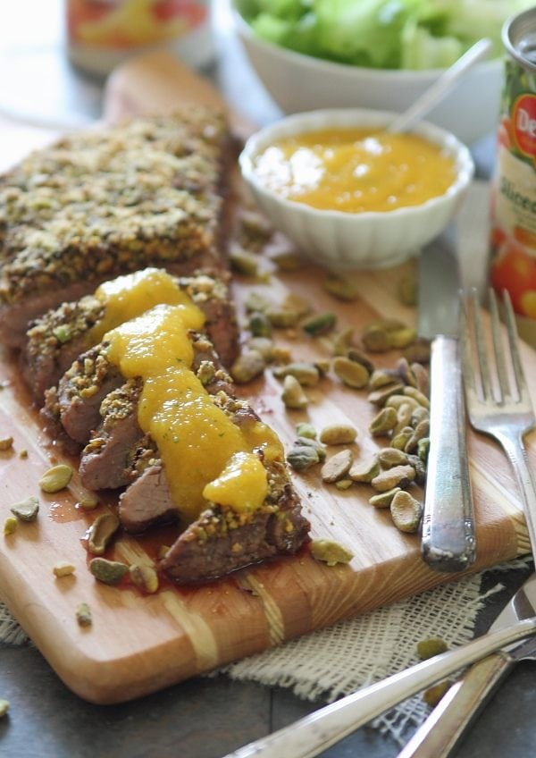 Pistachio Crusted Flank Steak with Peach Puree | runningtothekitchen.com