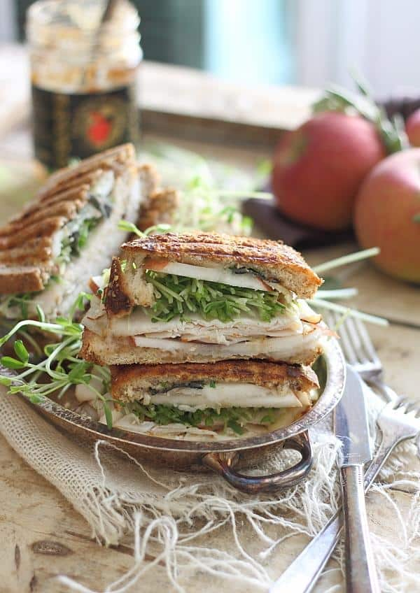 Turkey cheddar apple butter panini