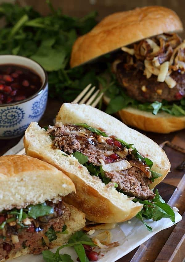 These bison burgers are filled with pomegranates and feta cheese make the perfect winter burger.