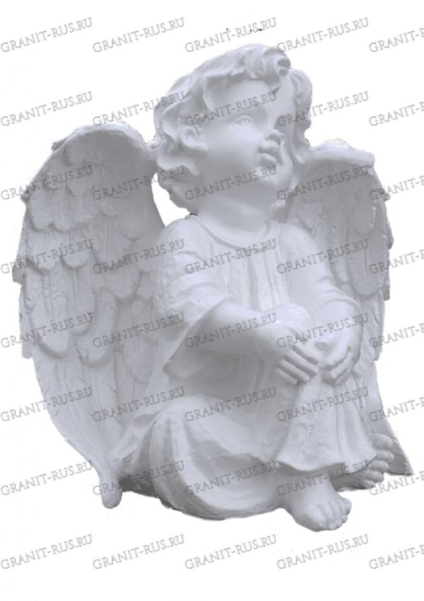 ангел сидячий с крыльями Скульптура из литьевого мрамора на могилу