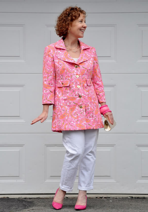 Sue wearing a colorful paisley print jacket | 40plusstyle.com