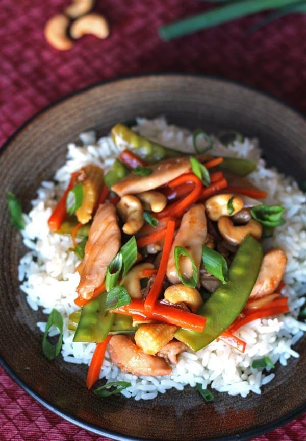Cashew Chicken on Rice