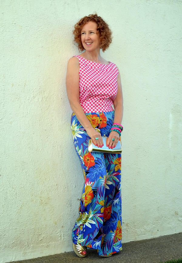 Mixing patterns with flower pants and a printed top | 40plusstyle.com