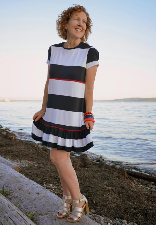 blue white and red nautical dress | 40plusstyle.com