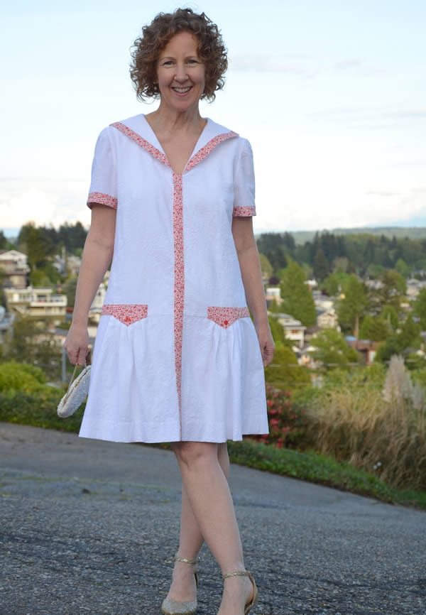 Sue wearing the Midnight in Paris dress | 40plusstyle.com