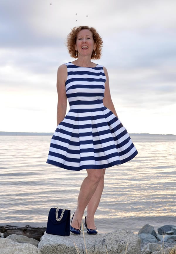 blue and white striped dress | 40plusstyle.com