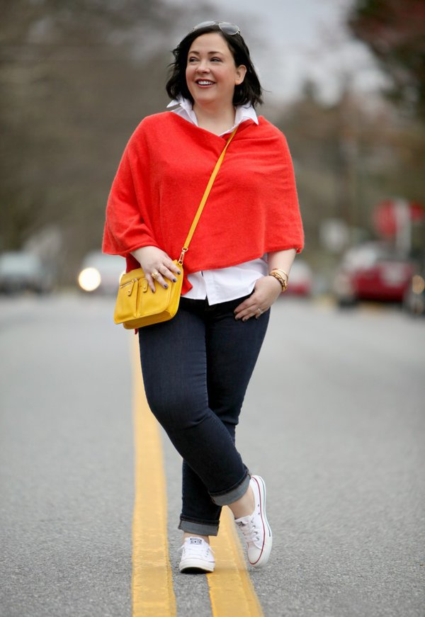 Red poncho   40plusstyle.com