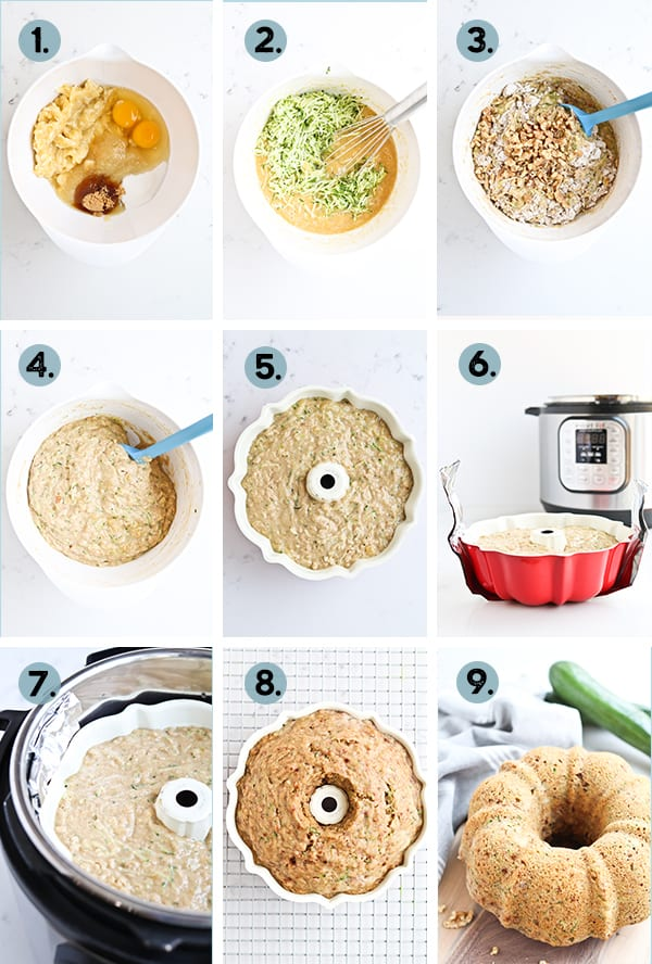 step by step collage for zucchini bread