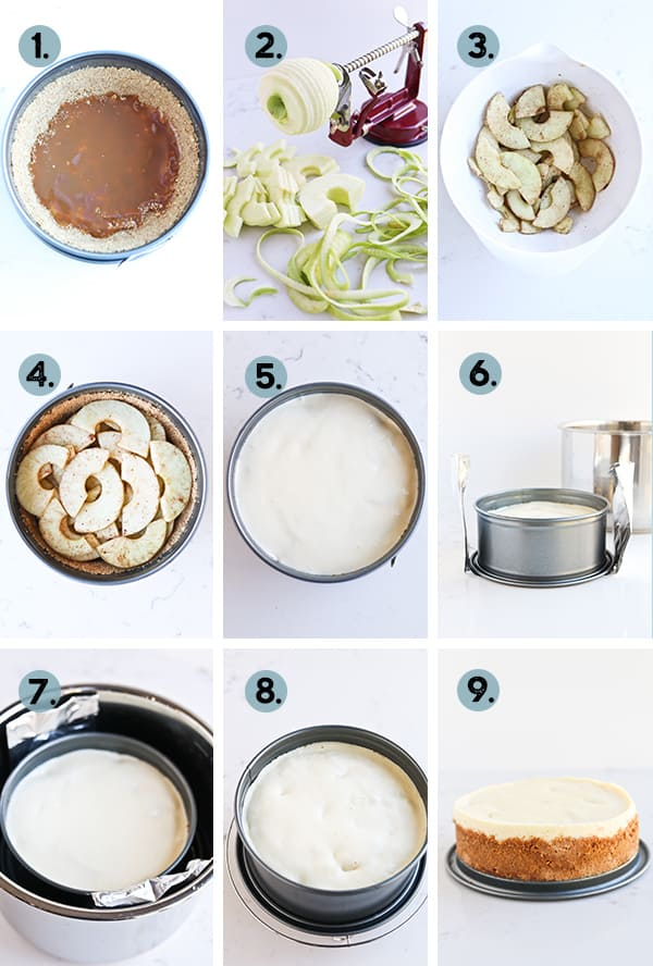 step by step collage on how to make instant pot caramel apple cheesecake