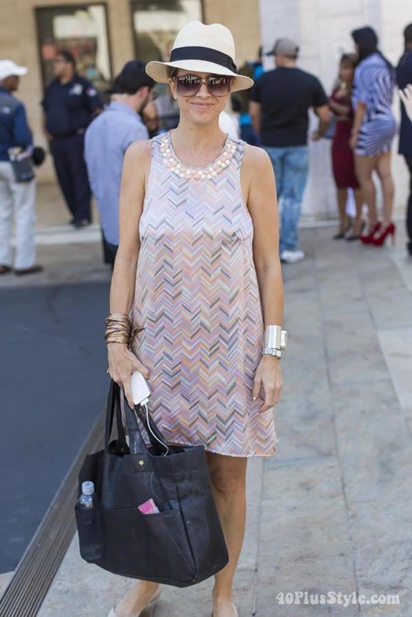pastel dress with embelishments   40plusstyle.com