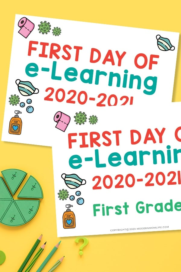 First Day of Distance Learning Signs