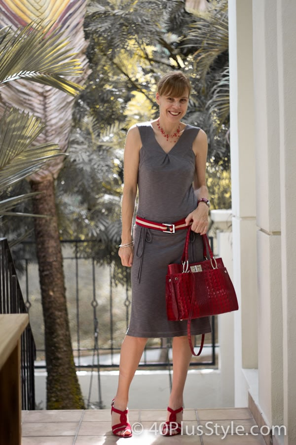 Grey dress with red accessories | 40plusstyle.com