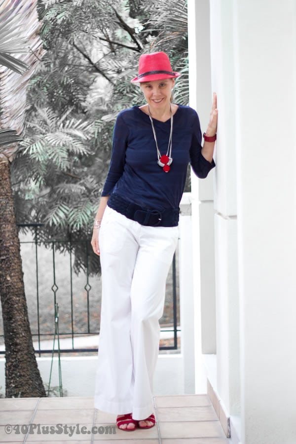 marine look with red, blue and white | 40plusstyle.com