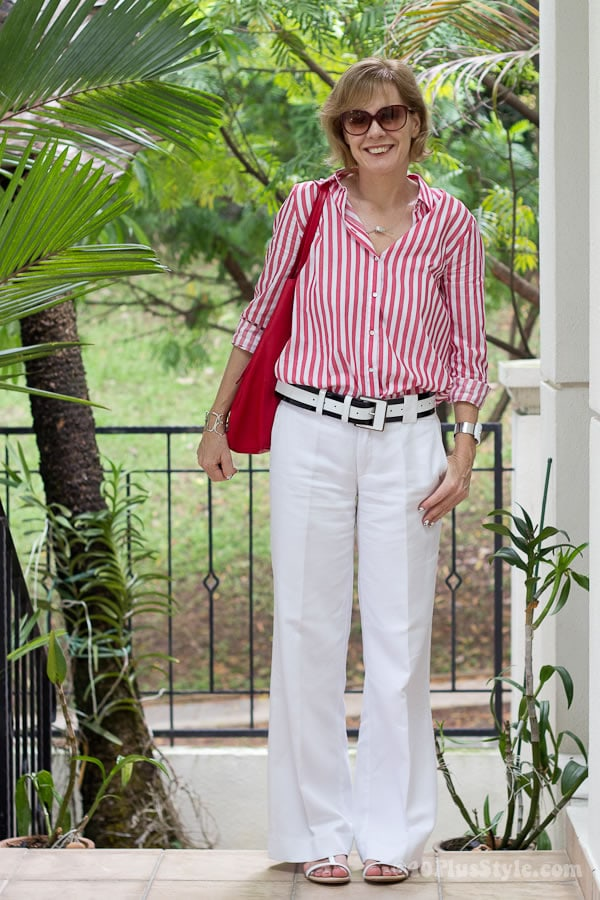 white-trousers-with-red-striped-shirt